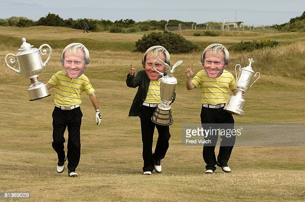 Golf British Open Fans wearing Jack Nicklaus masks and carrying fake trophy during Sunday play at Old Course St Andrews GBR 7/17/2005