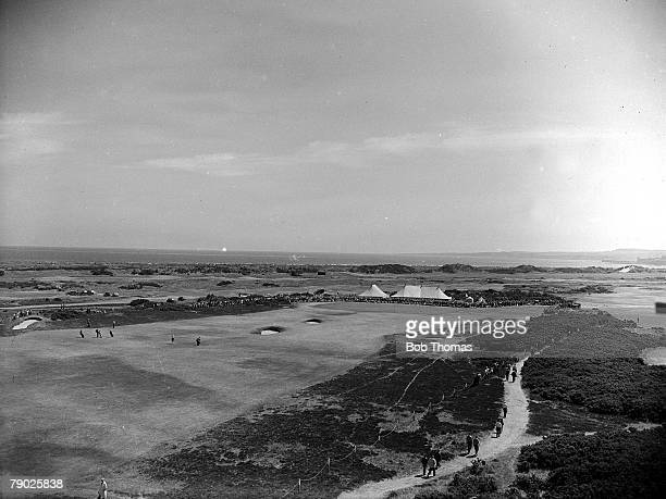 British Open Golf Championships, July 1957, St Andrews, Scotland, An aerial general view of the Old Course taken from the tele tower