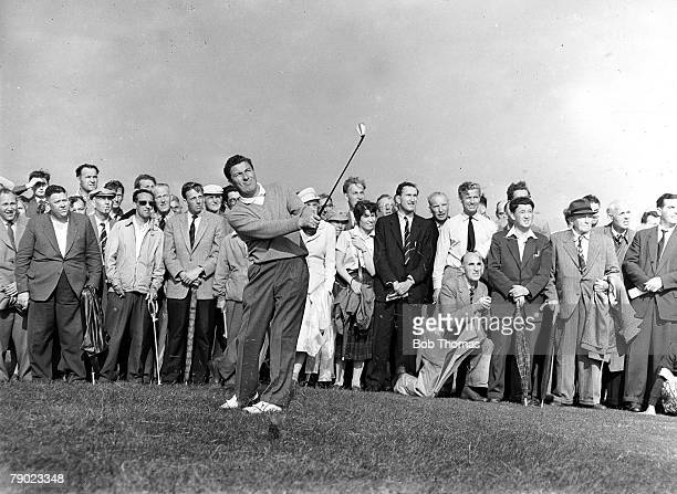 Golf British Open Golf Championships July 1958 Royal Lytham St Annes Lancashire Australias Peter Thomson plays a pitch shot watched by spectators...