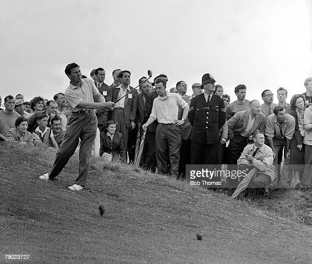 Golf British Open Golf Championships July 1958 Royal Lytham St Annes Lancashire Australias Peter Thomson plays a pitch shot from a slope on to the...