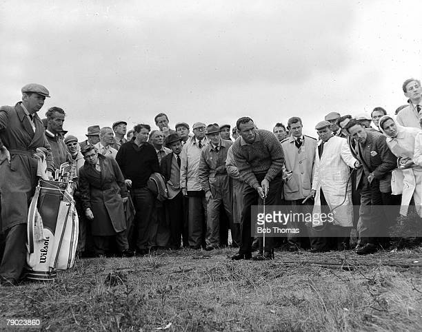 Golf British Open Golf Championships July 1961 Royal Birkdale Southport USAs legendary golfer Arnold Palmer is pictured putting from just off the...