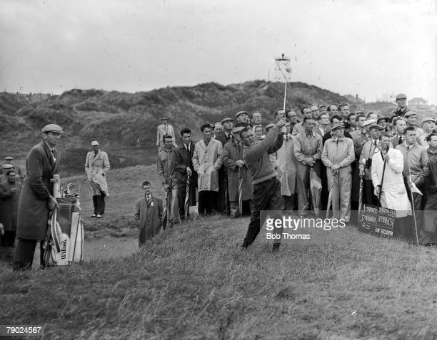 Golf British Open Golf Championships June 1961 Royal Birkdale Southport USAs legendary golfer Arnold Palmer is pictured after having hacked his way...