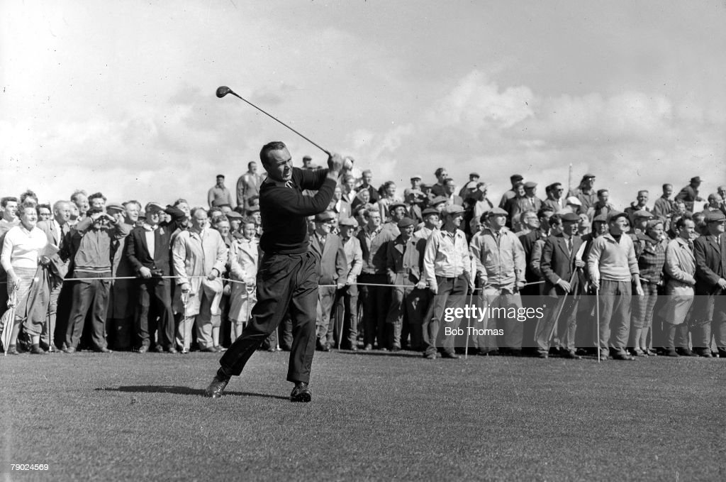 Golf. British Open Golf Championships. June 1961. Royal Birkdale, Southport. USA+s legendary golfer Arnold Palmer is pictured after having played a long approach with a wood. Palmer went on to win the tournament with a four round aggregate total of 284 sh : News Photo