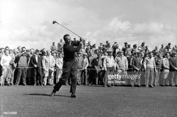 Golf British Open Golf Championships June 1961 Royal Birkdale Southport USAs legendary golfer Arnold Palmer is pictured after having played a long...