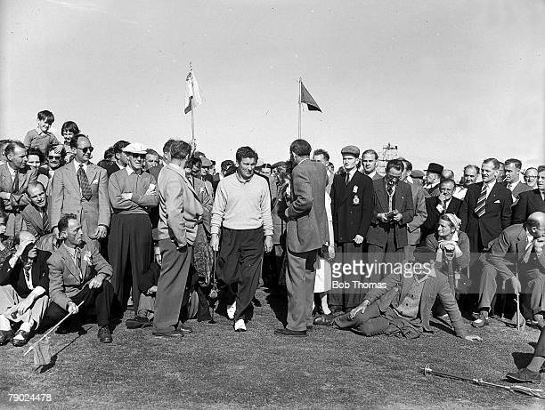 Golf British Open Golf Championships Royal Liverpool Australias Peter Thomson is pictured making his way through the crowds with the help of stewards...