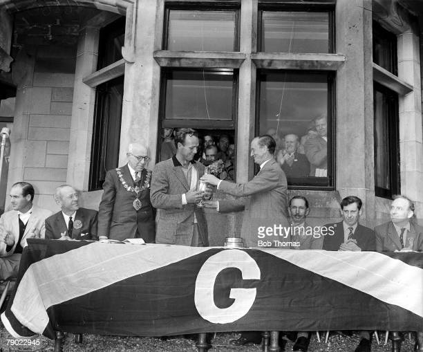 Golf British Open Golf Championships Troon Scotland USAs legendary golfer Arnold Palmer is pictured receiving the Claret Jug following his victory...