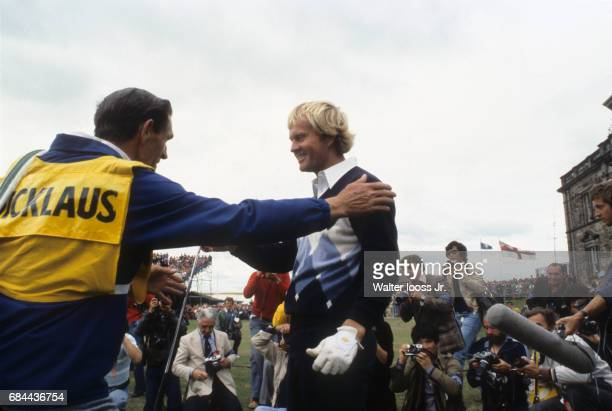 British Open Jack Nicklaus victorious with caddie after winning tournament on Sunday at Old Course St Andrews Scotland 7/16/1978 CREDIT Walter Iooss...
