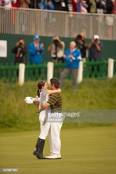 British Open Louis Oosthuizen victorious with wife NelMare on No 18 green after winning tournament on Sunday at Old Course St Andrews Scotland...