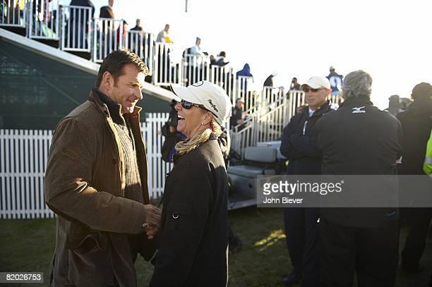 British Open Nick Faldo and Chris Evert wife of Greg Norman during Saturday play at Royal Birkdale GC Southport England 7/19/2008 CREDIT John Biever