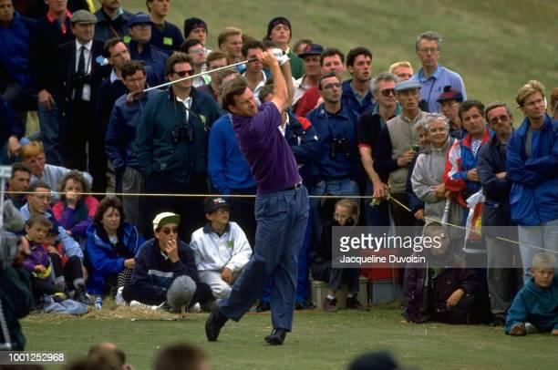 British Open Nick Faldo in action drive during tournament at Muirfield Golf Links Gullane Scotland 7/16/1992 7/19/1992 CREDIT Jacqueline Duvoisin