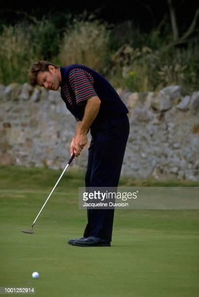 Nick Faldo in action, putting during tournament at Muirfield Golf Links. Gullane, Scotland 7/16/1992 -- 7/19/1992 CREDIT: Jacqueline Duvoisin