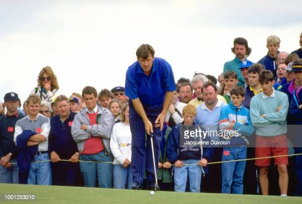 Nick Faldo lining up putt during Sunday play at Muirfield Golf Links. Gullane, Scotland 7/19/1992 CREDIT: Jacqueline Duvoisin