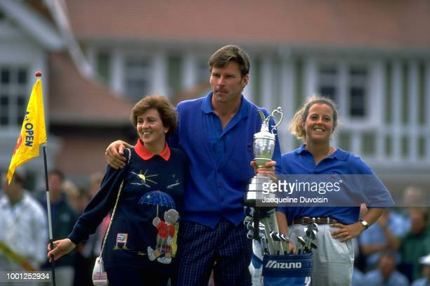 British Open Nick Faldo victorious with his wife Gill Bennett and caddie Fanny Sunesson while holding Claret Jug trophy after winning tournament on...