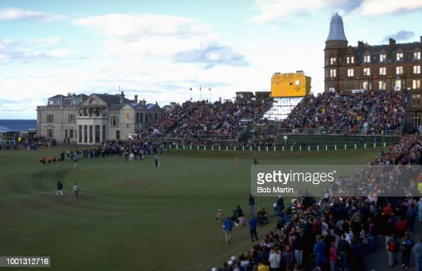 British Open Overall view of naked male streaker running across No 18 hole during tournament at Old Course St Andrews Scotland 7/20/1995 7/23/1995...