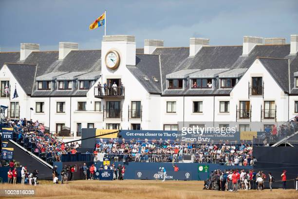 British Open Overall view of Tiger Woods in action drive from No 1 tee during Thursday play at Carnoustie Golf Links Carnoustie Scotland 7/19/2018...