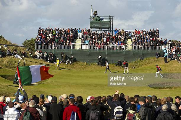 British Open Padraig Harrington victorious after making eagle putt on No 17 during Sunday play at Royal Birkdale GC Southport England 7/20/2008...