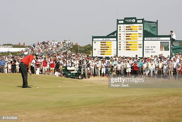 Golf: British Open, Phil Mickelson in action, taking putt on Friday at Royal Liverpool GC, Hoylake, England 7/21/2006