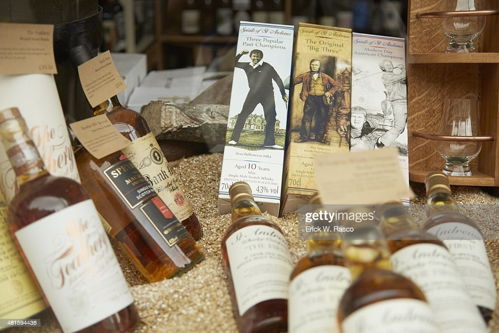 84c570a0 View of liquor storefront in town displaying commemorative golf ...
