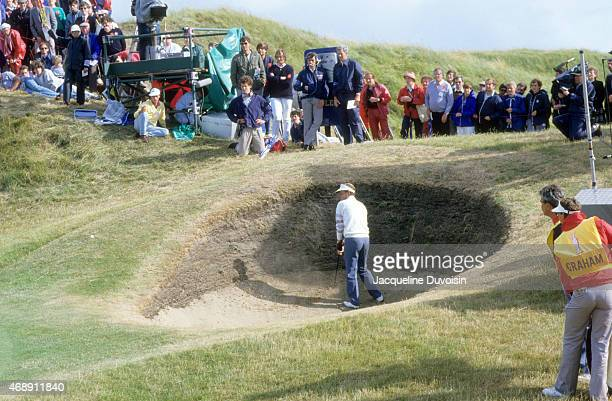 Sandy Lyle in action, from sand trap during Saturday play at Royal St. George's GC. Sandwich, England 7/20/1985 CREDIT: Jacqueline Duvoisin