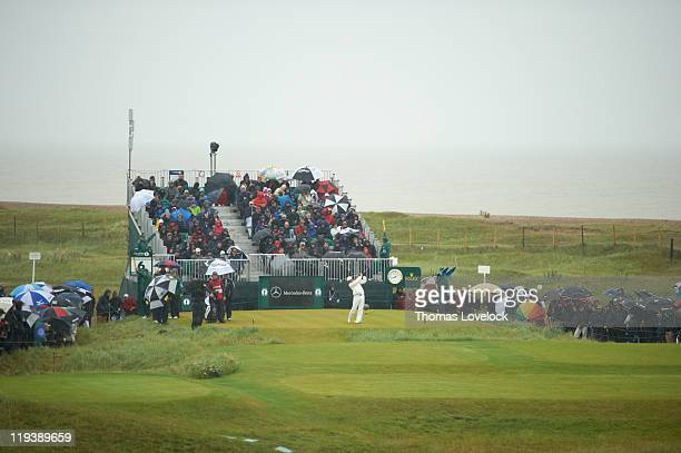 British Open Scenic view of Rickie Fowler in action drive from tee on No 6 during Saturday play at Royal St George's GC Sandwich England 7/16/2011...