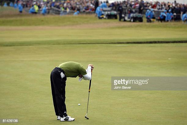 Golf British Open Sergio Garcia upset after missing par putt on No 18 during Sunday play at Carnoustie Angus Scotland 7/22/2007