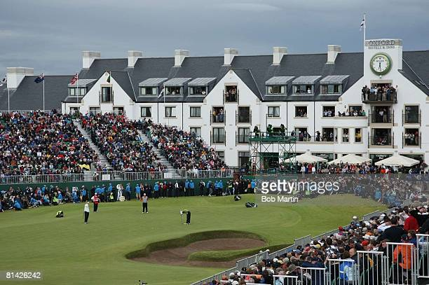 Golf British Open Sergio Garcia upset after missing par putt on No 18 during Sunday play at Carnoustie Scenic view of fans in stands and clubhouse...