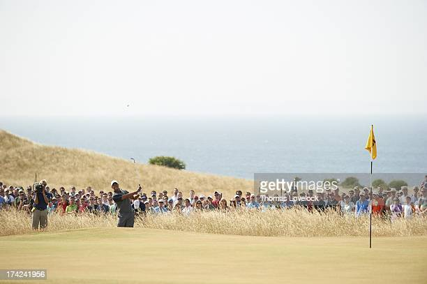 British Open Tiger Woods in action during Saturday play at Muirfield Gullane Scotland 7/20/2013 CREDIT Thomas Lovelock