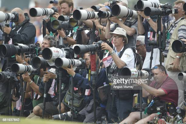 British Open View of photographer David Cannon and other photographers in media well during Sunday play at Royal Liverpool GC Hoylake England...