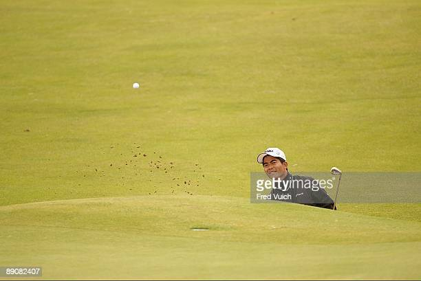 British Open WenChong Liang in action from sand on No 5 during Friday play at Ailsa Course of Turnberry Resort South Ayrshire Scotland 7/17/2009...