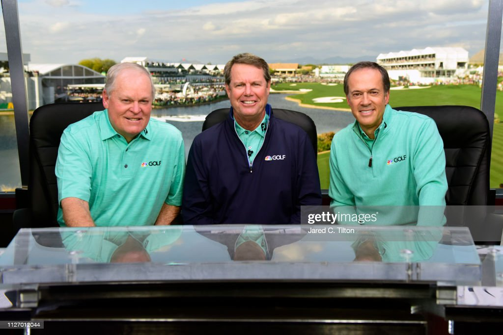 NBC Golf broadcasters Johnny Miller, Paul Azinger, and Dan