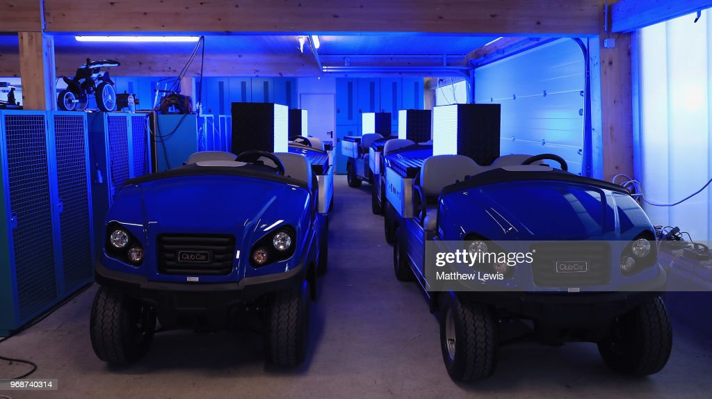 Golf buggies with electronic displays charge up ahead of the Pro-Am of The 2018 Shot Clock Masters at Diamond Country Club on June 6, 2018 in Atzenbrugg, Austria.