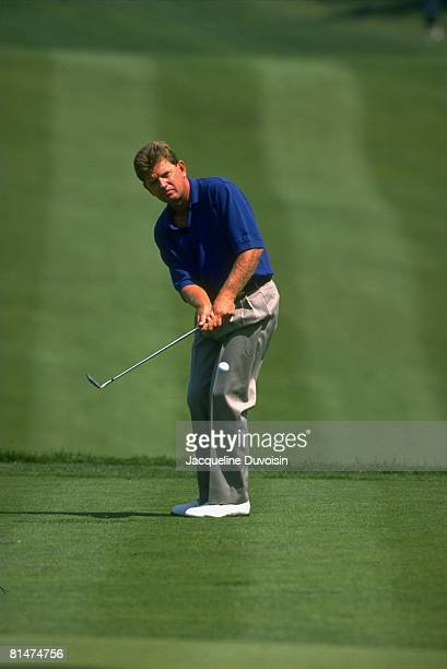 Golf: Buick Classic, Nick Price in action, making putt on Friday, Westbury, NY 6/7/1996