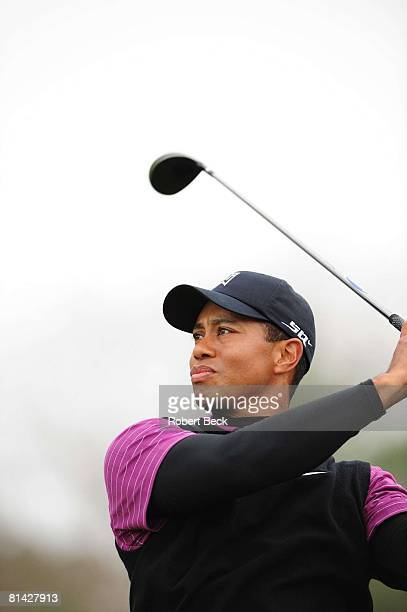Golf Buick Invitational Closeup of Tiger Woods in action on Saturday at Torrey Pines GC La Jolla CA 1/26/2008