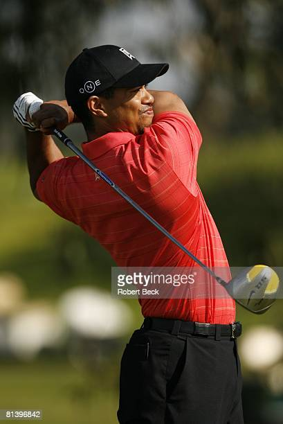 Golf Buick Invitational Closeup of Tiger Woods in action on Sunday at Torrey Pines GC La Jolla CA 1/29/2006