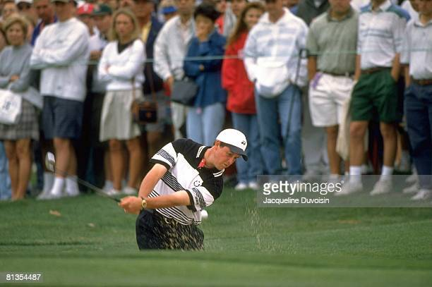Golf Byron Nelson Classic Phil Mickelson in action from sand on Sunday Irving TX 5/12/1996