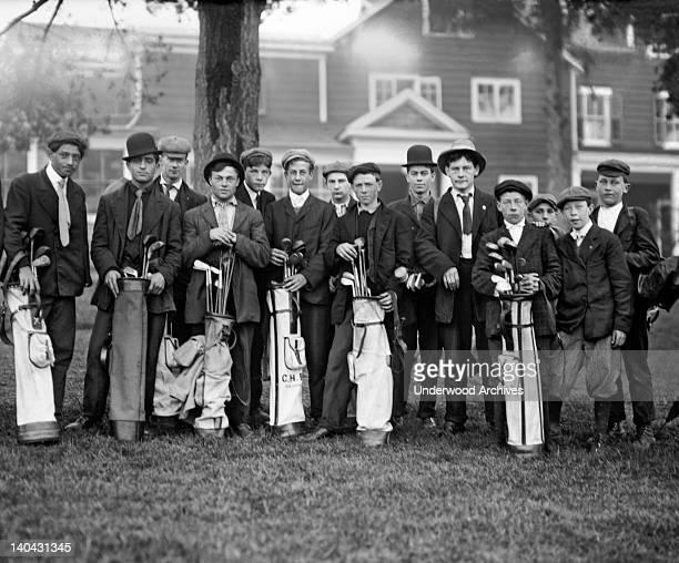 Golf caddies at the Baltusrol Golf Club in Springfield New Jersey circa 1900