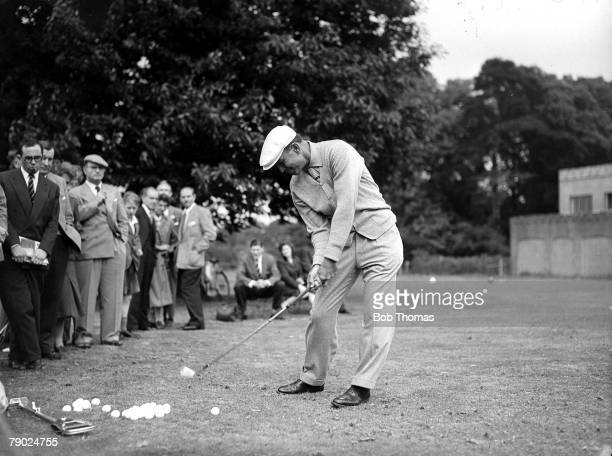 Canada Cup June 1956 Wentworth Surrey Legendary American golfer Ben Hogan hits a ball on the practise ground