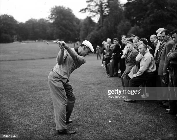Canada Cup June 1956 Wentworth Surrey Legendary American golfer Ben Hogan hits a shot with an iron Hogan was part of the triumphant United States...