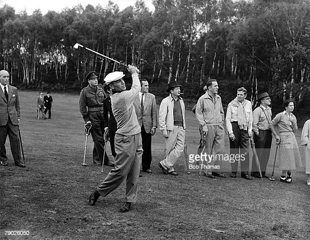 Canada Cup, June 1956, Wentworth, Surrey, Legendary American golfer Ben Hogan hits an approach with an iron, Hogan was part of the triumphant United...