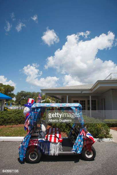 Golf cart decorated for Fourth of July