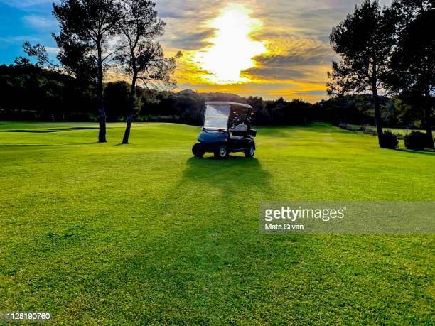 Golf Cart on Golf Course with Sunlight