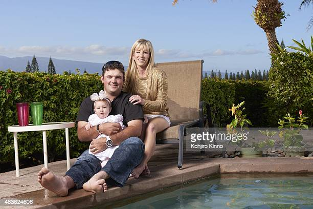 Casual portrait of Patrick Reed with wife Justine and 8monthold daughter WindsorWells during photo shoot at Kapalua Resort Lahaina Maui HI CREDIT...