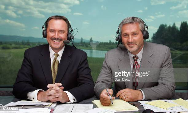 Golf Channel analysts Brian Hammons and Frank Nobilo rehearse before going on air during the third round of the JELDWEN Tradition held at Crosswater...