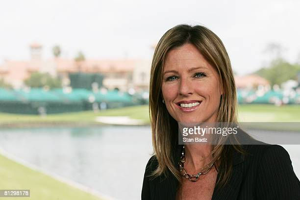 Golf Channel announcer Kelly Tilghman inside the booth at the 18th hole during the second round of THE PLAYERS Championship on THE PLAYERS Stadium...