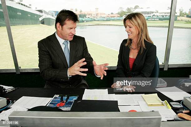 Golf Channel announcers Nick Faldo left and Kelly Tilghman right inside the booth at the 18th hole during the second round of THE PLAYERS...