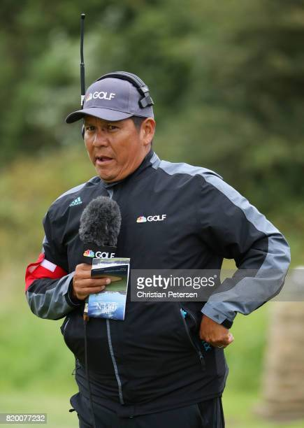Golf Channel commentator Notah Begay during the second round of the 146th Open Championship at Royal Birkdale on July 21 2017 in Southport England