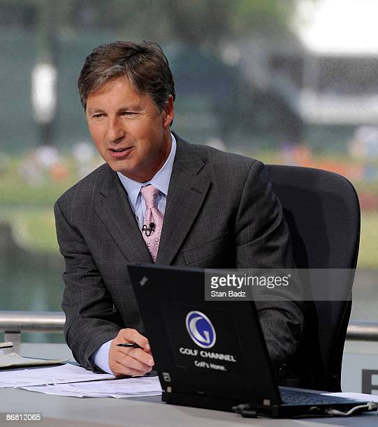 Golf Channel on air talent Brandel Chamblee prepare for today's coverage during the second round of THE PLAYERS Championship on THE PLAYERS Stadium...