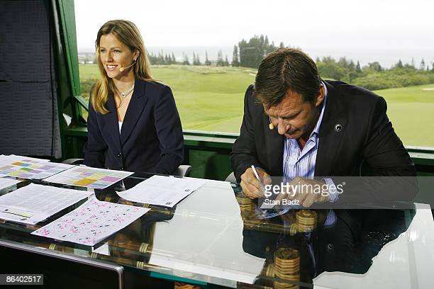 Golf Channel on air talent Kelly Tilghman gives playbyplay reports as Nick Faldo takes notes during the second round of the MercedesBenz Championship...