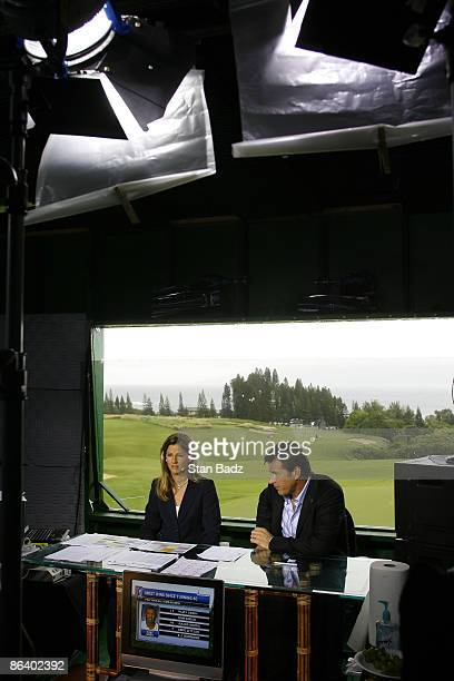 Golf Channel on air talent Kelly Tilghman left and Nick Faldo right during the second round of the MercedesBenz Championship held on the Plantation...