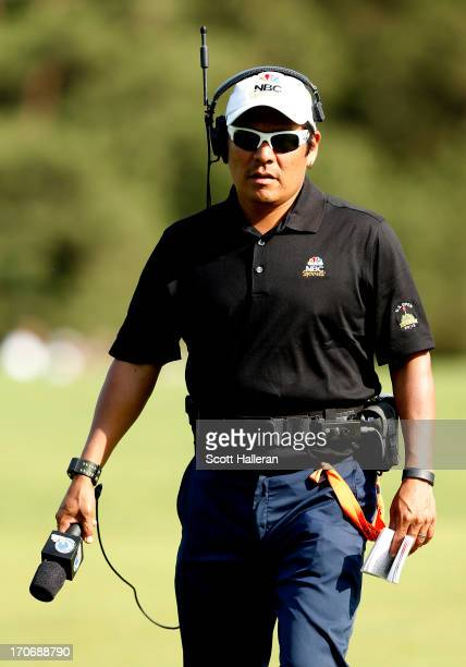Golf Channel on NBC course reporter Notah Begay III is seen during Round Three of the 113th US Open at Merion Golf Club on June 15 2013 in Ardmore...